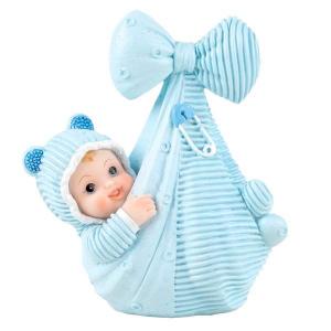 Baby i teppe, 11 cm, Blå