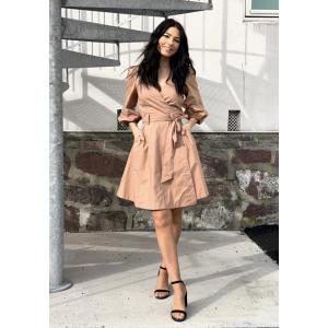Phoebe wrap short dress - Praline