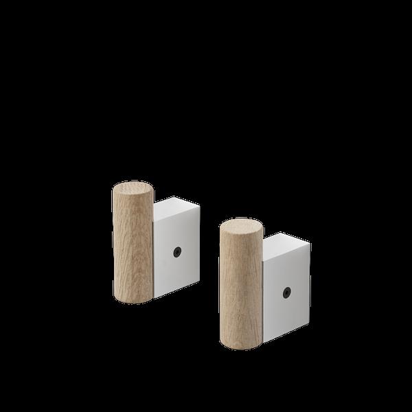 Attach Coat Hook - 2pk - Oak/Aluminium