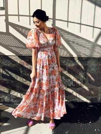 Chiffon Gown - Lilac Bouqet