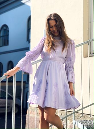 Elegant Lace Mini Dress - Lilac