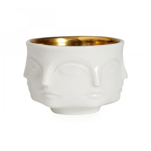 Muse Votive Candle Holder - White/Gold