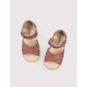 PETIT NORD - CROSS-OVER SCALLOP SANDAL BERRY