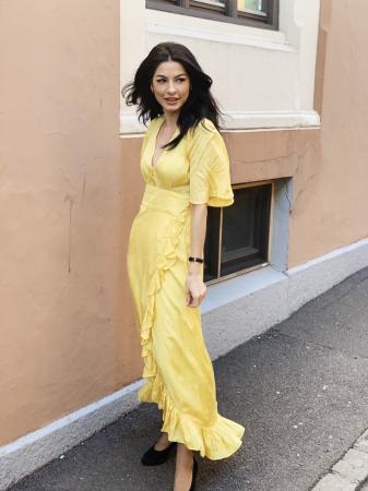 Delicate Semi  Wrap Gown - Yellow