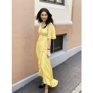 Delicate Semi  Wrap Gown - Yellow