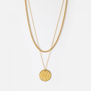 Rope & Coin Two Row Necklace