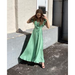 Satin Midi Wrap Dress Loose Dots