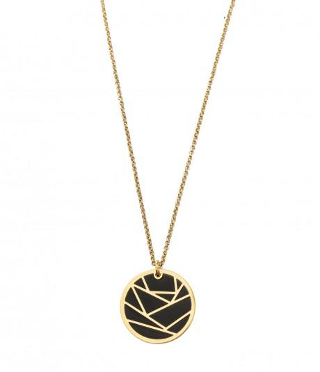 Rose Enamel Long Necl'klace Gold/Black