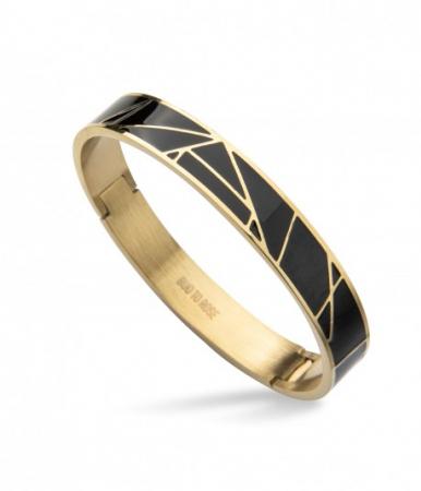 Rose Enamel Bracelet Black/Gold