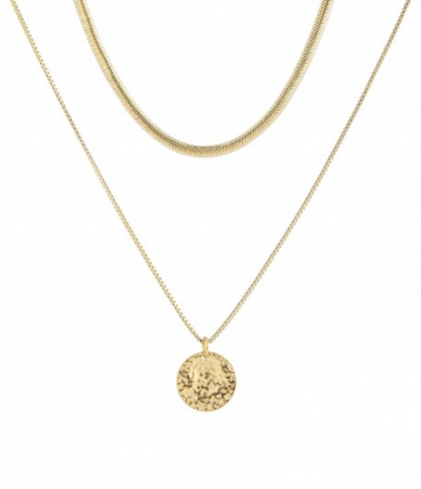 devious duo snake necklace gold