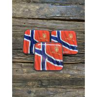 Glassbrikke Norske flagg 1pk