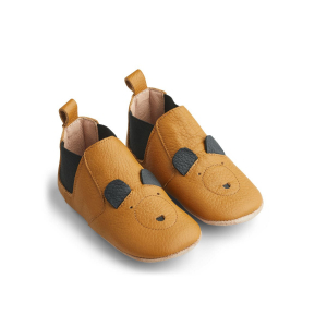 LIEWOOD - EDITH LEATHER SLIPPERS MR BEAR MUSTARD