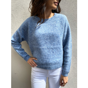 Brook Knit New Loose O-Neck - Blue Bonnet
