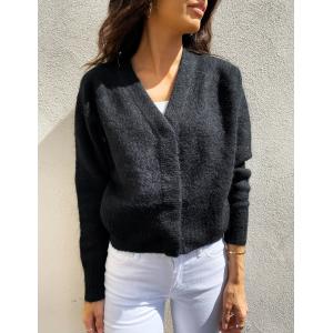 Brook knit boxy cardigan - black