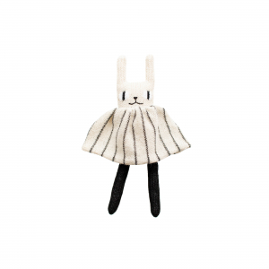 Main Sauvage - Rabbit soft toy - Black and white striped dress