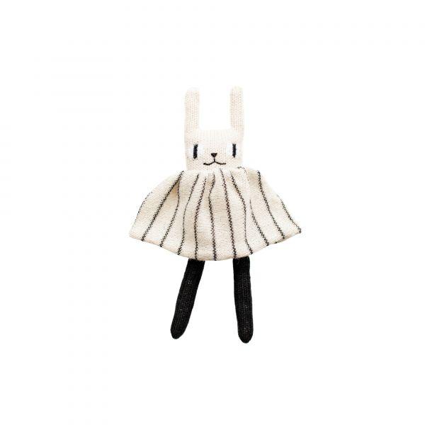 Main Sauvage - Rabbit soft toy - Black and white striped dress
