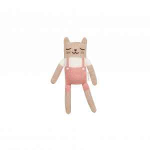 Main Sauvage - Kitten soft toy - rose overalls