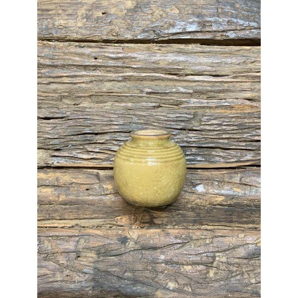 Vase mini mustard m/riller krakelert glasur