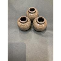 Vase mini lys brun m/riller krakelert glasur
