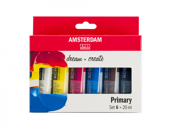 Amsterdam Standard 20ml – Sett 6 ass. Primærfarger