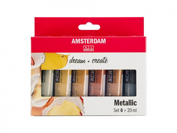 Amsterdam Standard 20ml – Sett 6 ass. Metallicfarger