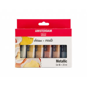 Amsterdam Standard 20ml – Sett 6 ass. Metallicfarger