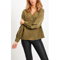 OBJEileen burnt olive v-neck