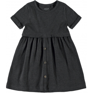 Ribsa kortermet kjole mini ribb
