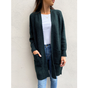 Lulu Knit Long Cardigan - Scarab/ Melange