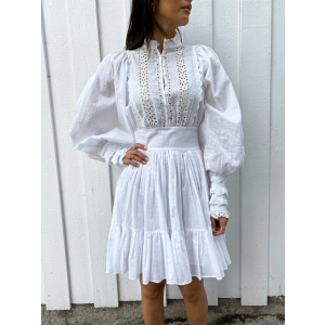 Cotton slub mini lace dress - white
