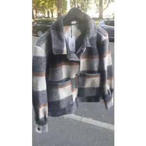 Viksa kort jakke svart/brun rutete