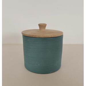 Liten sylinderkrukke med lokk -  Bjørk sjøgrønn - Kvist Porselen