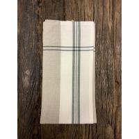 Kjøkkenhåndkle grått m/grønn stripe