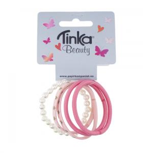 Tinka Hårstrikk 5-pk rosa/perler