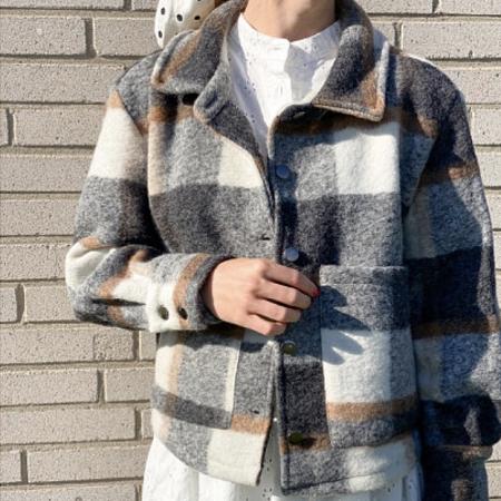Viksa Short Jacket Grey/Camel