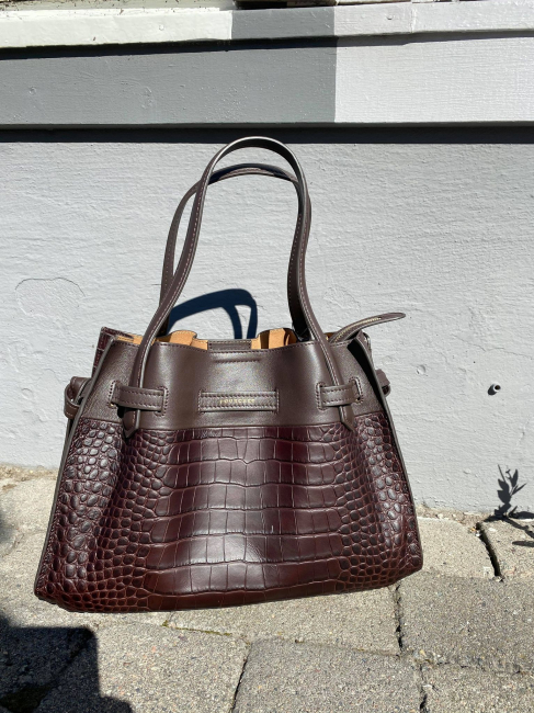 Crocco embossed cowhide leather small size satchel