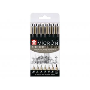 Sakura Pigma Micron Sett – #49 6+1stk Brush