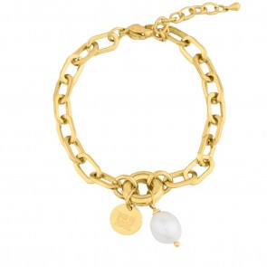 Devious Pearl Link Bracelet Gold