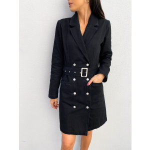 Doria Blazer Black Denim Dress