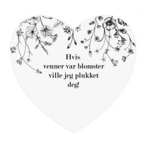 Magnetskilt hjerte Venner plukket8x7,5cm