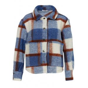 Viksa kort jakke blå/brun rutete