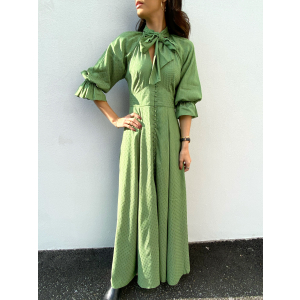Delicate Button Down Gown - Green Dots