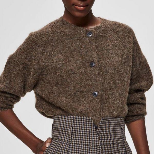 Lulu Knit Short Cardigan Brun