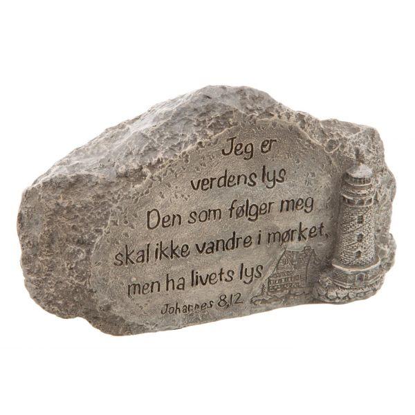 Stein m/bibeltekst Joh.8.12 grå