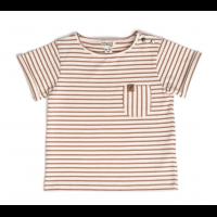 Organic Short Sleeve Pocket Tee - Caramel Stripe