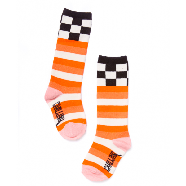 Sokker 1-2Checkers/Pink Knee Socks - Carlijnq.