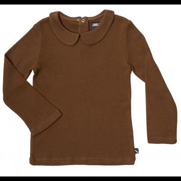 Basic Henley Long Sleeve Collar - Brun
