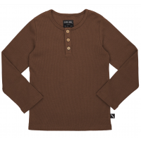 Basic Henley Long Sleeve - Brun