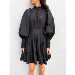 Broderie Anglaise Mini Dress - Black