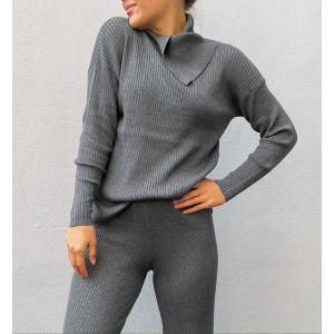 Gaia Knit Pullover - Dark Grey Melange